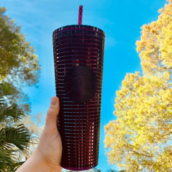 Starbucks plum grid studded tumbler